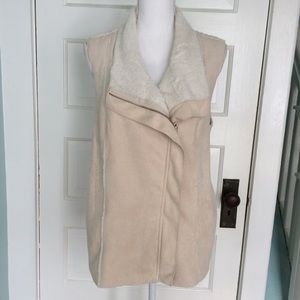 Skies Are Blue Faux Suede & Shearling Cream Vest L